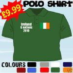 IRELAND 6 NATIONS RUGBY FAN PERSONALISED T POLO SHIRT
